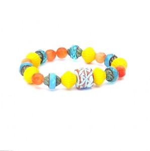 Sky Blue Ceramic Bracelet with Czech Glass & Jade Beads yellow, orange, turquoise - As Seen at GBK's 2014 MTV Movie Awards Celeb Gift Lounge